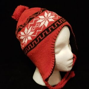 Knit Hat With Pom and Braided Ties